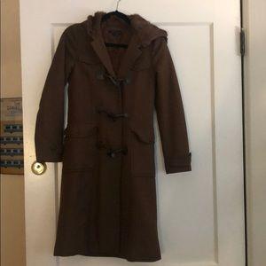 Wool Theory coat with rabbit fur hood